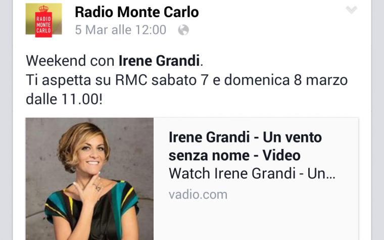 Questo weekend Irene Grandi su RADIO MONTE CARLO