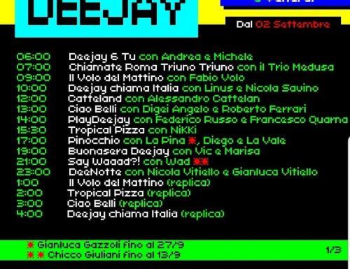 Il nuovo palinsesto di Radio Deejay